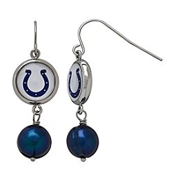 NFL® Indianapolis Colts Freshwater Pearl and Logo Charm Drop Earrings