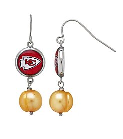 NFL® Kansas City Chiefs Freshwater Pearl and Logo Charm Drop Earrings