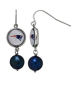 NFL® New England Patriots Freshwater Pearl and Logo Charm Drop Earrings
