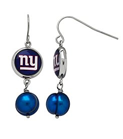 NFL® New York Giants Freshwater Pearl and Logo Charm Drop Earrings