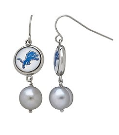 NFL® Detroit Lions Freshwater Pearl and Logo Charm Drop Earrings
