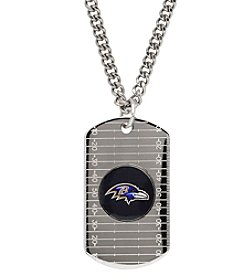 NFL® Baltimore Ravens Sterling Silver Dog Tag with Stainless Steel Endless Chain