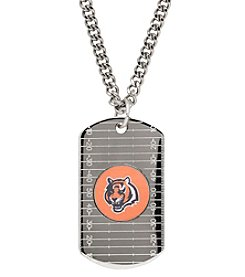 NFL® Cincinnati Bengals Sterling Silver Dog Tag with Stainless Steel Endless Chain