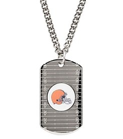 NFL® Cleveland Browns Sterling Silver Dog Tag with Stainless Steel Endless Chain