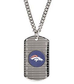 NFL® Houston Texans Sterling Silver Dog Tag with Stainless Steel Endless Chain