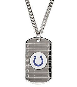 NFL® Indianapolis Colts Sterling Silver Dog Tag with Stainless Steel Endless Chain