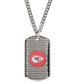 NFL® Kansas City Chiefs Sterling Silver Dog Tag with Stainless Steel Endless Chain