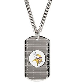 NFL® Minnesota Vikings Sterling Silver Dog Tag with Stainless Steel Endless Chain