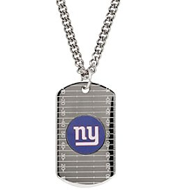NFL® New York Giants Sterling Silver Dog Tag with Stainless Steel Endless Chain