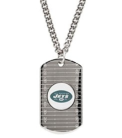 NFL® New York Jets Sterling Silver Dog Tag with Stainless Steel Endless Chain