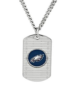 NFL® Philadelphia Eagles Sterling Silver Dog Tag with Stainless Steel Endless Chain