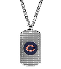 NFL® Chicago Bears Sterling Silver Dog Tag with Stainless Steel Endless Chain