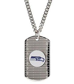 NFL® Seattle Seahawks Sterling Silver Dog Tag with Stainless Steel Endless Chain