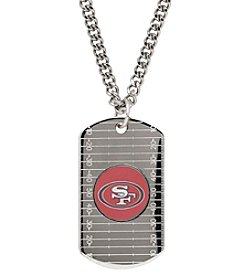 NFL® San Francisco 49ers Sterling Silver Dog Tag with Stainless Steel Endless Chain