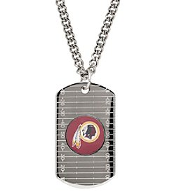 NFL® Washington Redskins Sterling Silver Dog Tag with Stainless Steel Endless Chain