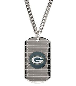 NFL® Green Bay Packers Sterling Silver Dog Tag with Stainless Steel Endless Chain