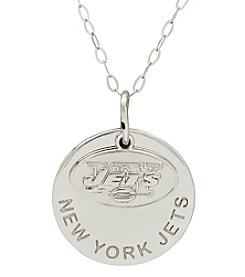 NFL® New York Jets Sterling Silver Polished Layer Disk Pendant Necklace