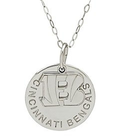 NFL® Cincinnati Bengals Sterling Silver Polished Layer Disk Pendant Necklace