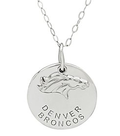 NFL® Denver Broncos Sterling Silver Polished Layer Disk Pendant Necklace