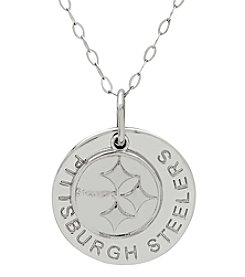 NFL® Pittsburgh Steelers Sterling Silver Polished Layer Disk Pendant Necklace