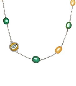 NFL® Green Bay Packers Sterling Silver Baroque Pearl Tin Cup Necklace