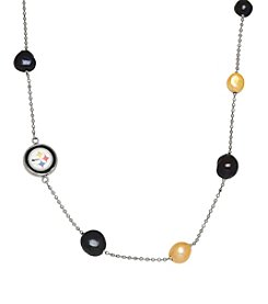 NFL® Pittsburgh Steelers Sterling Silver Baroque Pearl Tin Cup Necklace