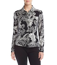 Tommy Hilfiger® Paisley Print Button Front Top