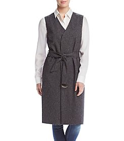 Vince Camuto® Long Belted Tweed Vest