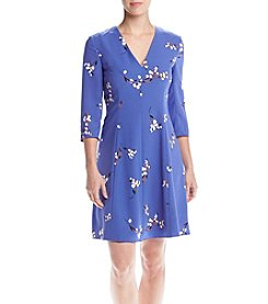 Anne Klein® Printed V-Neck Fit And Flare Dress