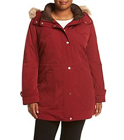 Gallery® Plus Size Faux Silk Anorak