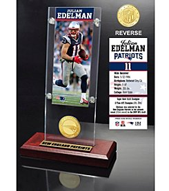 NFL® New England Patriots Julian Edelman Ticket & Bronze Coin Ticket Acrylic by The Highland Mint
