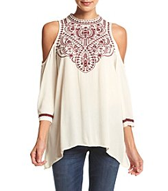 Eyeshadow® Embroidered Cold Shoulder Top