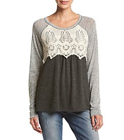 Jolt® Mixed Lace Pullover Top
