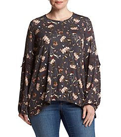 Eyeshadow® Plus Size Lace Detailed Floral Top