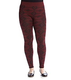 Pink Rose® Plus Size Geo Fleece Leggings