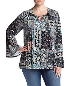 Eyeshadow® Plus Size Patchwork Flutter Top