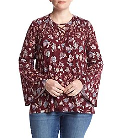 Eyeshadow® Plus Size Floral Flutter Top