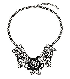 Relativity® Black Plated Filigree Flower Necklace With Glass Stones
