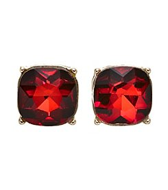 Relativity® Goldtone Red Button Faceted Stone Earrings