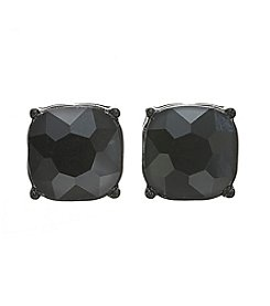 Relativity® Blacktone Button Faceted Stone Earrings