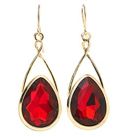 Relativity® Goldtone Fishhook Red Teardrop Earrings