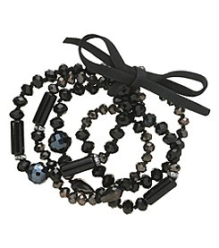 Relativity® Blacktone Four-Row Beaded Stretch Bracelet