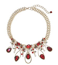 Relativity® Goldtone Beaded Frontal Necklace With Teardrops