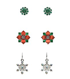 Studio Works® Silvertone Multi Colored Trio Pair Of Earrings