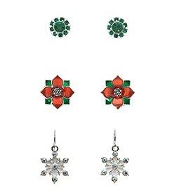 Studio Works® Silvertone Multi Colored Trio Pair Of Earrings