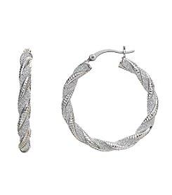 Marsala Glitter Twist Hoop Earrings