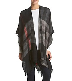 V. Fraas Light Weight Plaid Poncho Jacket