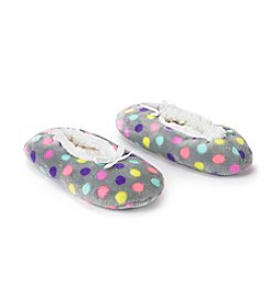 Fuzzy Babba® Ladies Gray Dots Slippers
