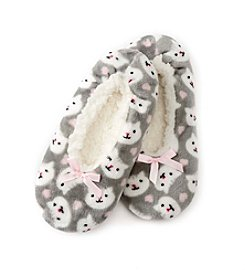 Fuzzy Babba® Cat Print With Memory Foam Slippers