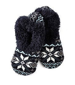 Fuzzy Babba® Teddy Fur Fair Isle Slippers